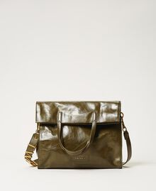 Foldable Twinset Bag leather shopper Dark Olive Green Woman 202TB7099-03