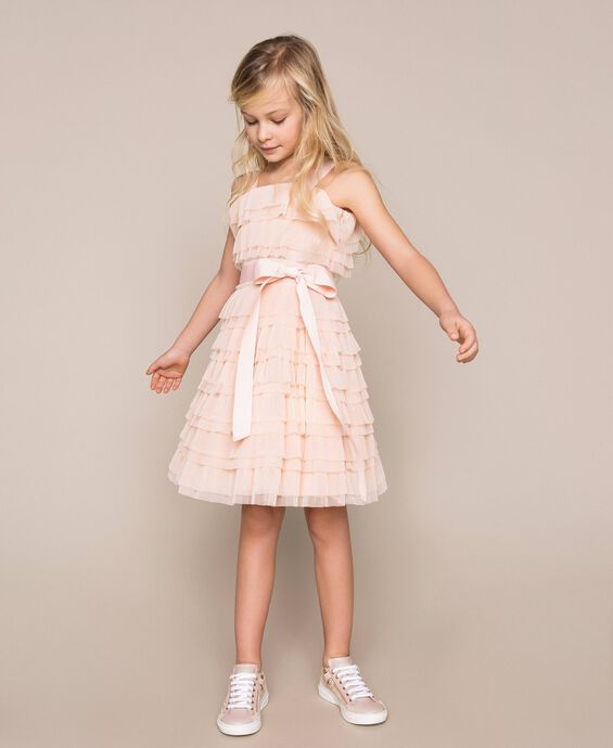 Pleated flounce tulle dress