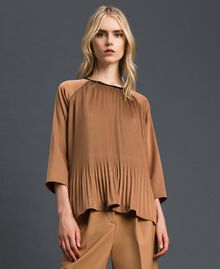 "Pleated blouse with three-quarter sleeves ""Sequoia"" Beige Woman 192ST2090-05"