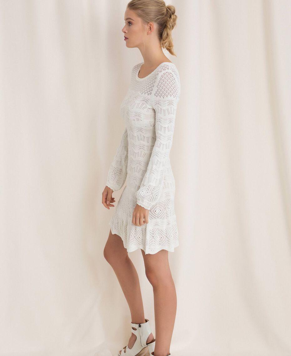 Lace effect knit dress White Snow Woman 201TP3210-02