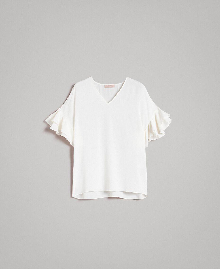 Bluse aus Seidenmischung Weiß Schnee Frau 191TT2075-0S