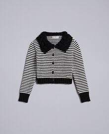 Striped wool blend cardigan Bicolour Black / Off White Child GA83KA-01