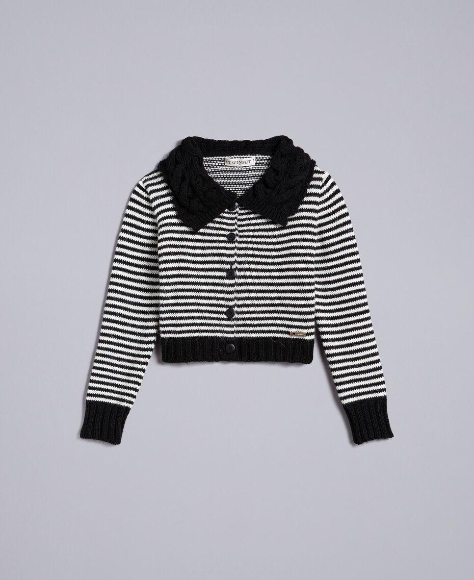 Кардиган из смешанной шерсти в полоску Двухцветный Черный / Желтовато-белый Pебенок GA83KA-01