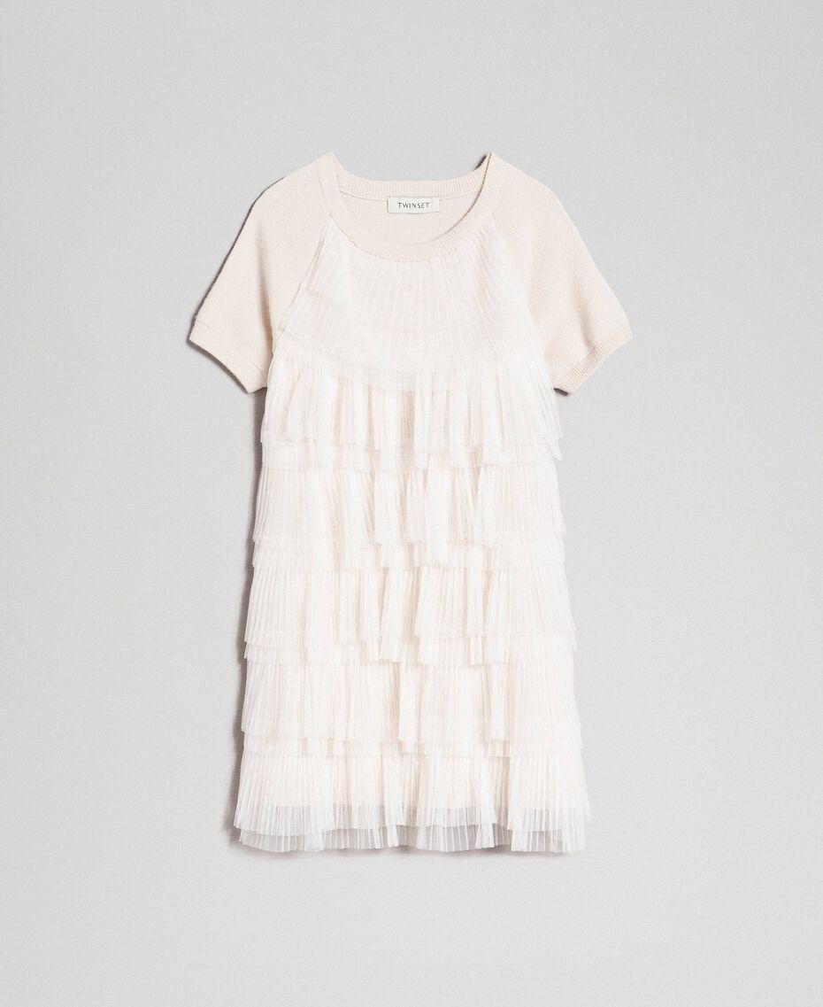 Dress with pleated tulle flounces Pale Cream Child 192GJ3110-0S
