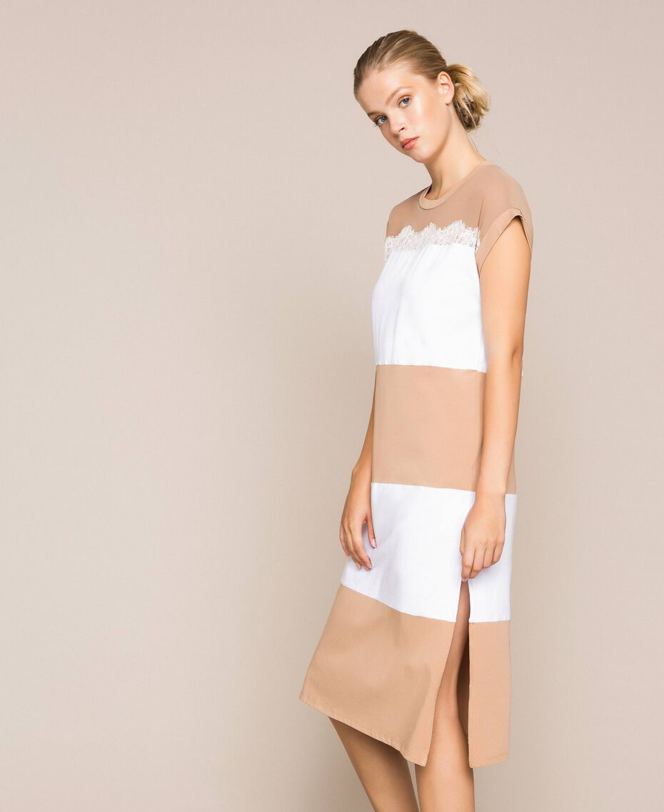 Two-tone long dress with lace Two-tone Optical White / Light Brown Woman 201ST2167-02