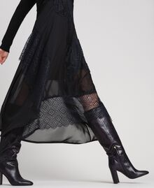 Robe longue en maille et crêpe georgette avec dentelle Noir Femme 192TT3080-04