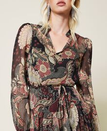 Maxikleid aus Krepon mit Blumendessin Print Indian Flower Schwarz Frau 212TP2640-05