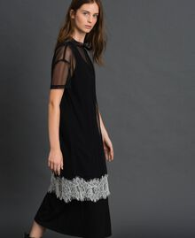 Midi dress with lace flounce and logo Black Woman 192ST2194-01