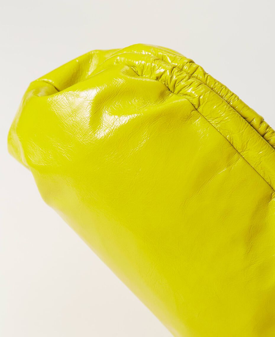 """Shiny leather soft clutch """"Led"""" Yellow Woman 211TD8060-03"""