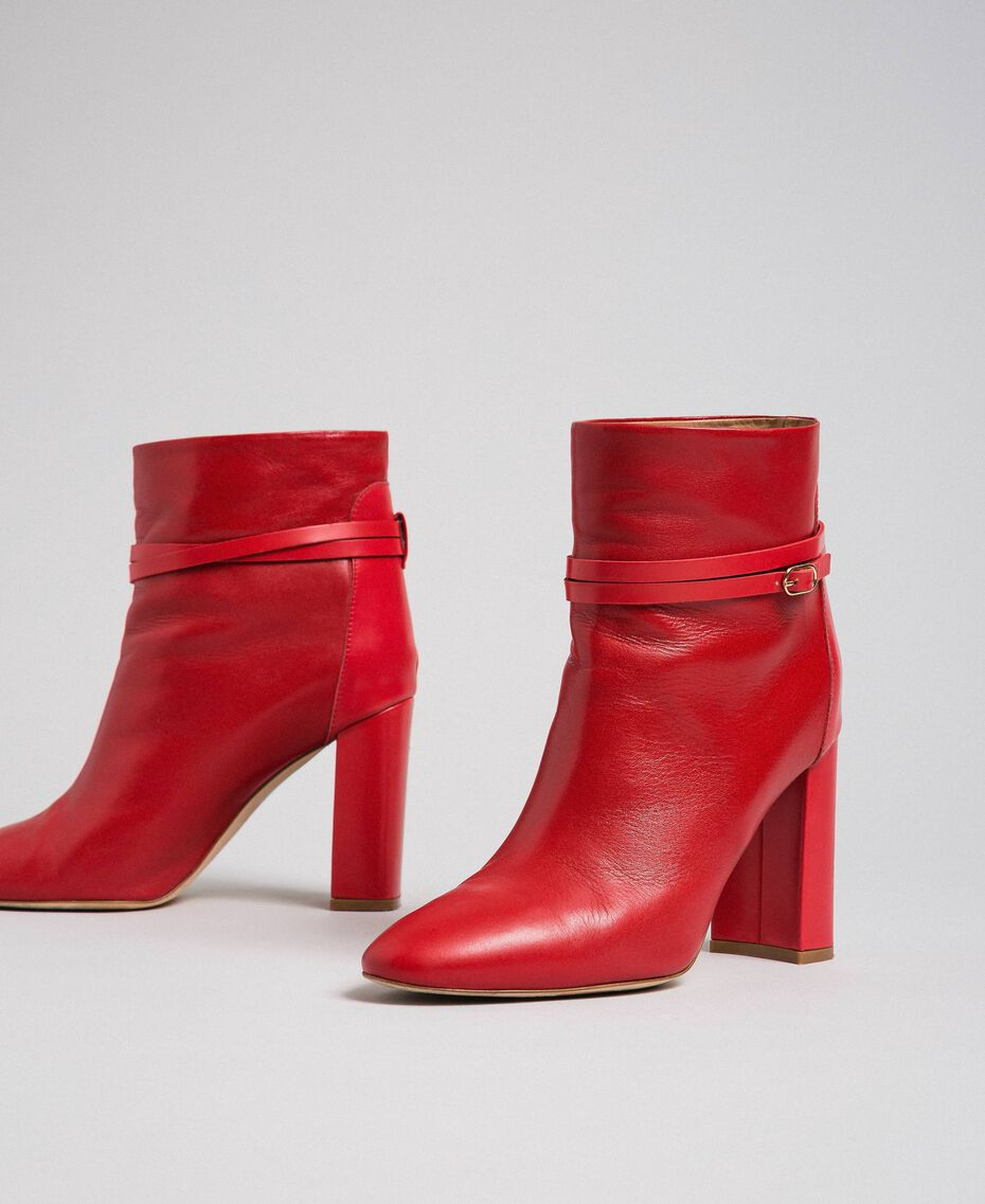 Leather ankle boots with strap Ruby Woman 192TCP104-01