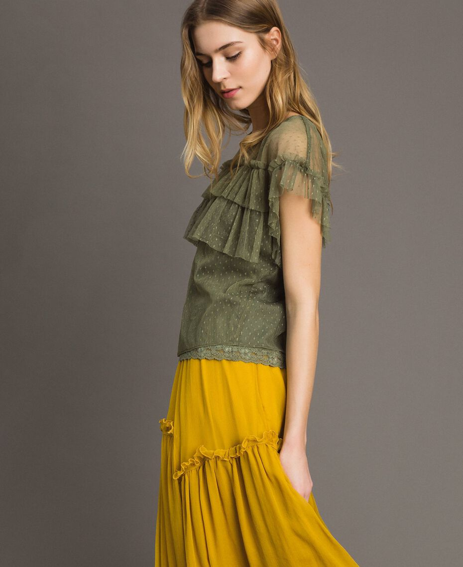 """Tulle blouse with slip top """"Olive Green"""" Woman 191ST2070-03"""