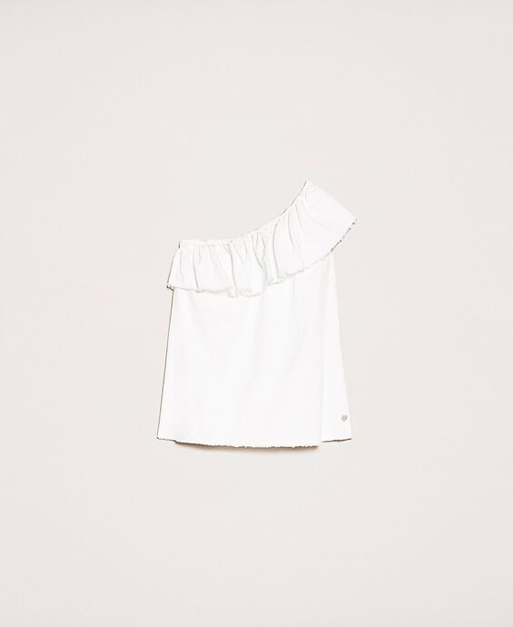 Weißes Jeans-Top mit Volant