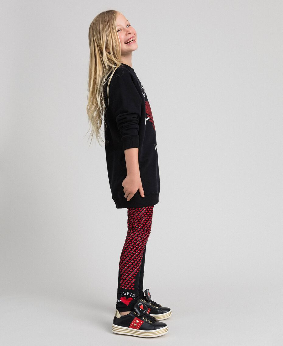 Maxi sweatshirt with heart and leggings Black / Tiny Heart Print Child 192GJ2550-02