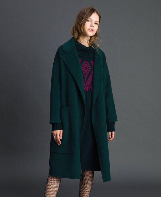 Double wool blend coat