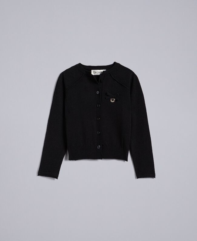 Viscose mandarin top cardigan Black Child FCN3AB-01