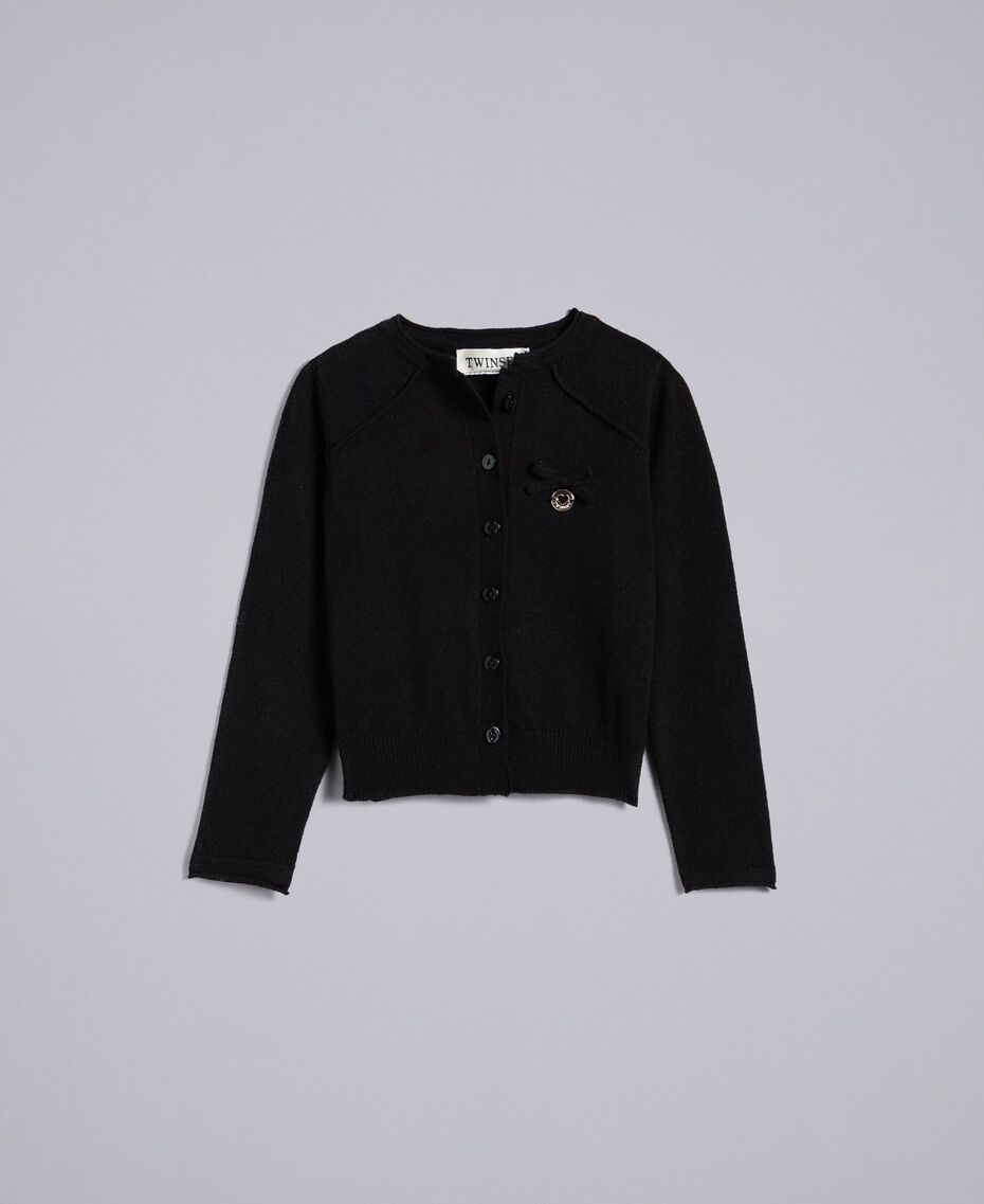 Viscose mandarin top cardigan Black Child FCN3AB-01