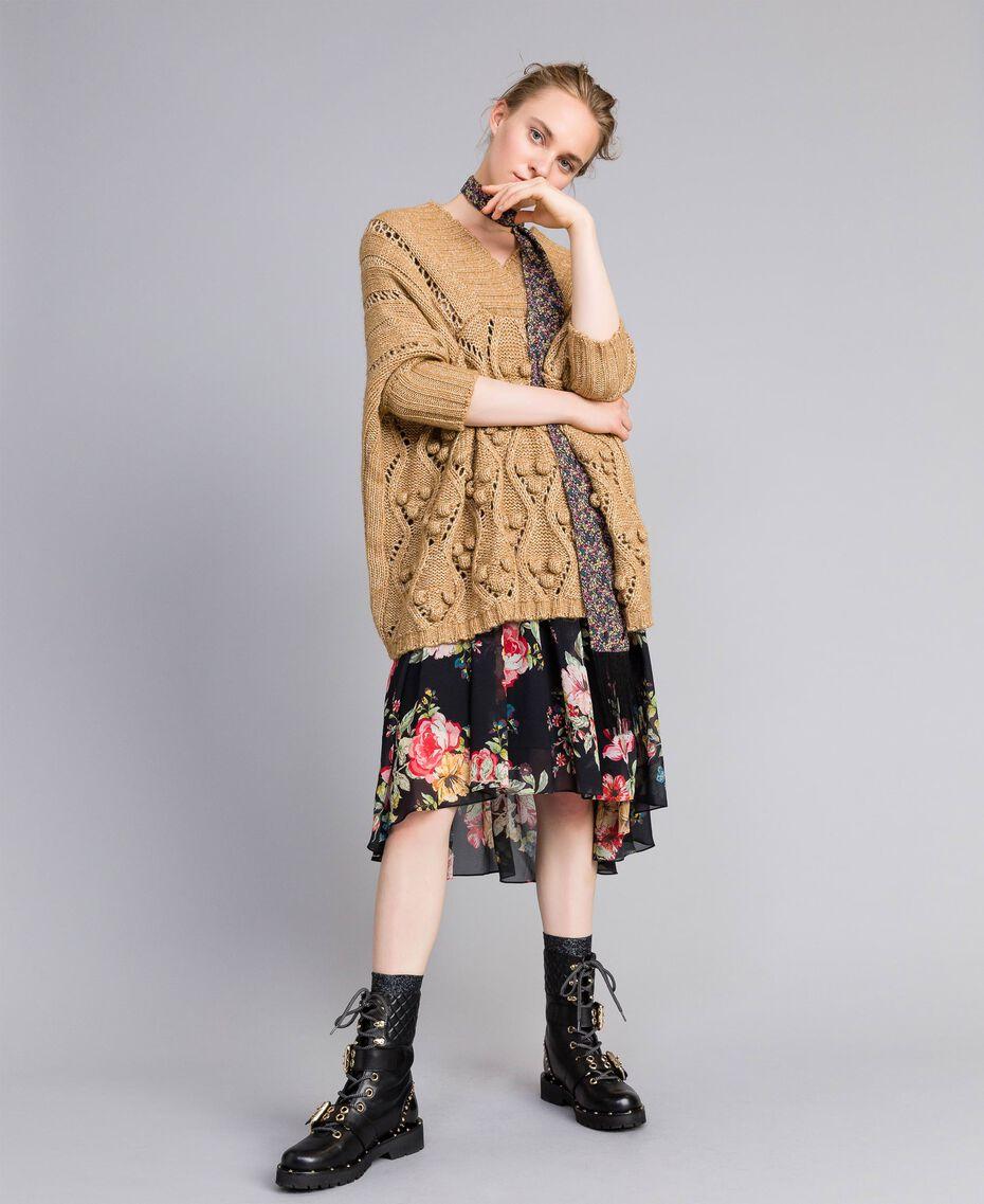 Robe courte en crêpe georgette avec imprimé floral Imprimé Fleur Patch Femme PA82MD-0T