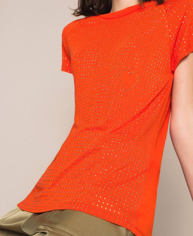 """Футболка, полностью отделанная заклепками Оранжевый """"Витаминный"""" женщина 201LL2DAA-04"""