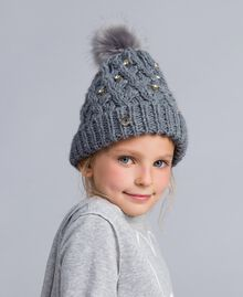Knitted braided hat with rhinestones Light Gray Mélange Child GA8HCU-0S