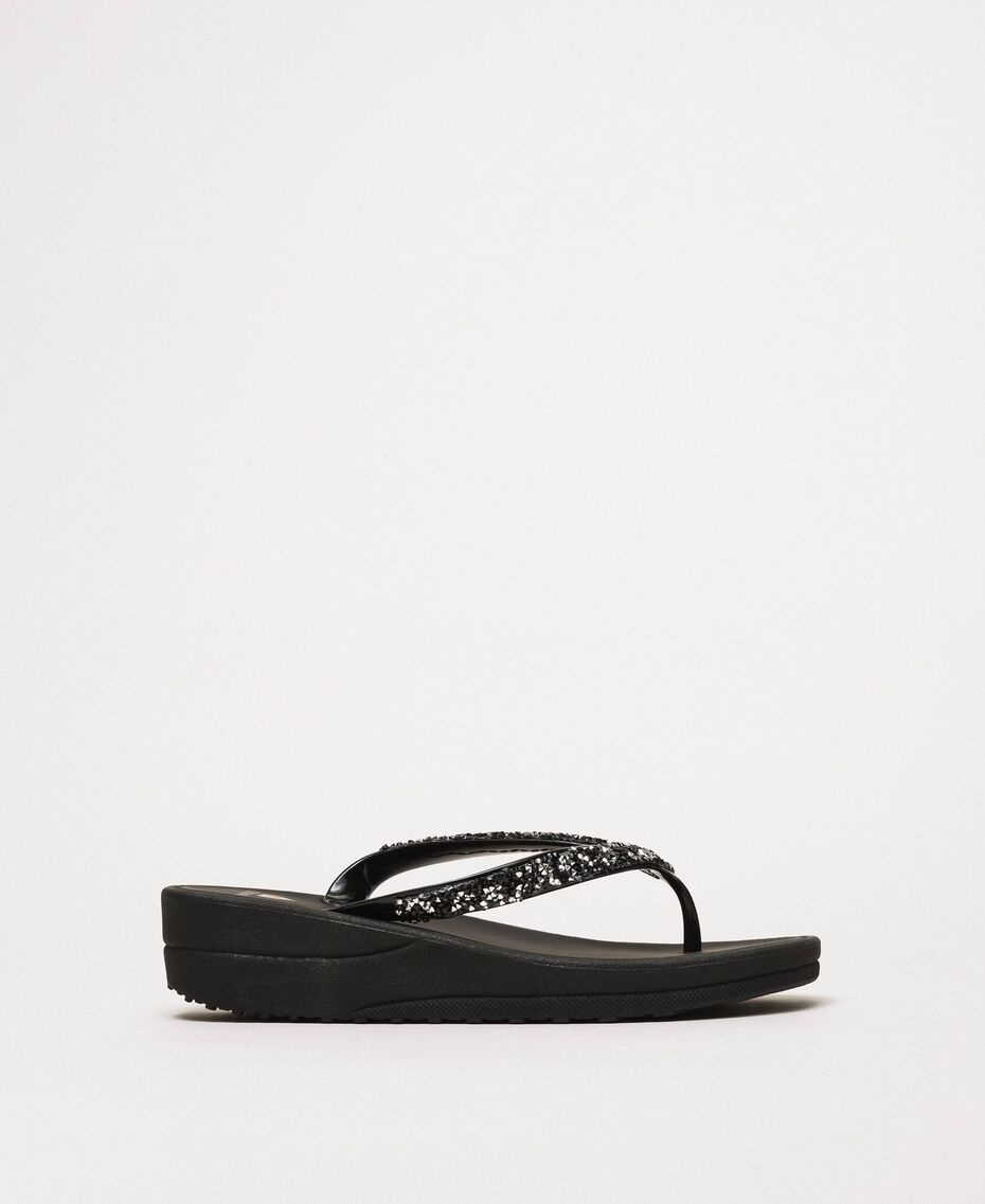 Thong sandals with sequins Black Woman 201LBP9GG-02