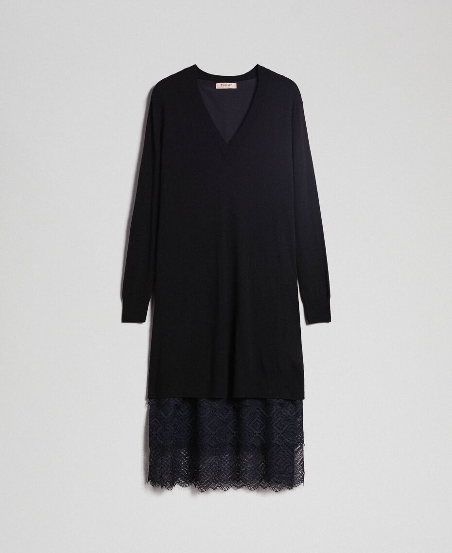 Knit dress with crêpe and lace slip Black Woman 192TT3084-0S