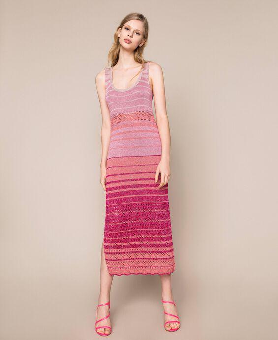 Striped lurex yarn dress