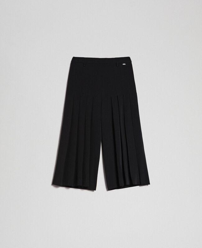 reputable site d74c8 b5921 Gonna pantalone con pieghe e logo Donna, Nero   TWINSET Milano