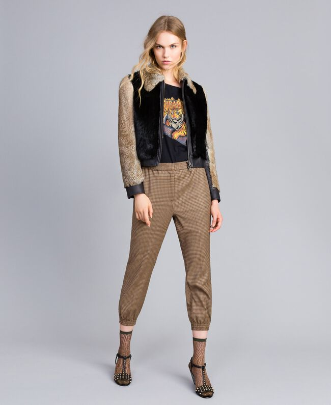 Zweifarbige Jacke aus Leder und Fell Schwarz Frau TA82AC-0T