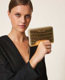 Crocodile print wallet Pale Gold Croc Print Woman 202TD8258-0S