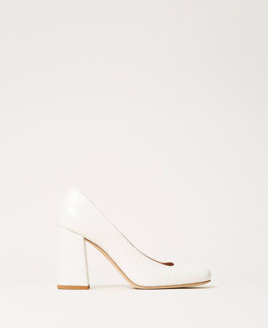 "Leather court shoes with crocodile print ""Snow"" White Crocodile Print Woman 202TCP076-02"