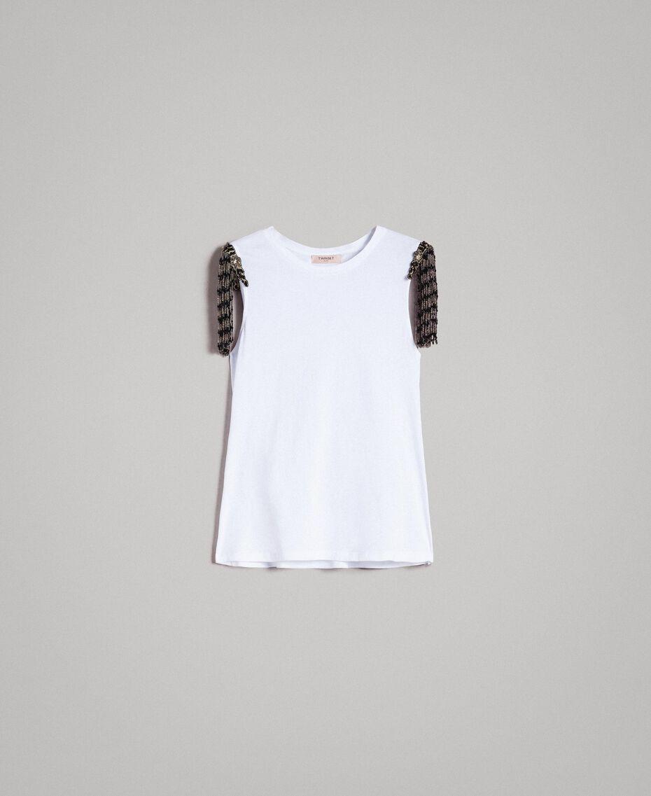 Trägerhemd mit aufgestickten Pailletten und Perlen Weiß Frau 191TT2350-0S