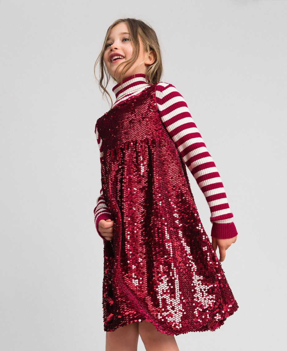 Robe en velours avec sequins Rouge Ruby Wine Enfant 192GJ2091-01