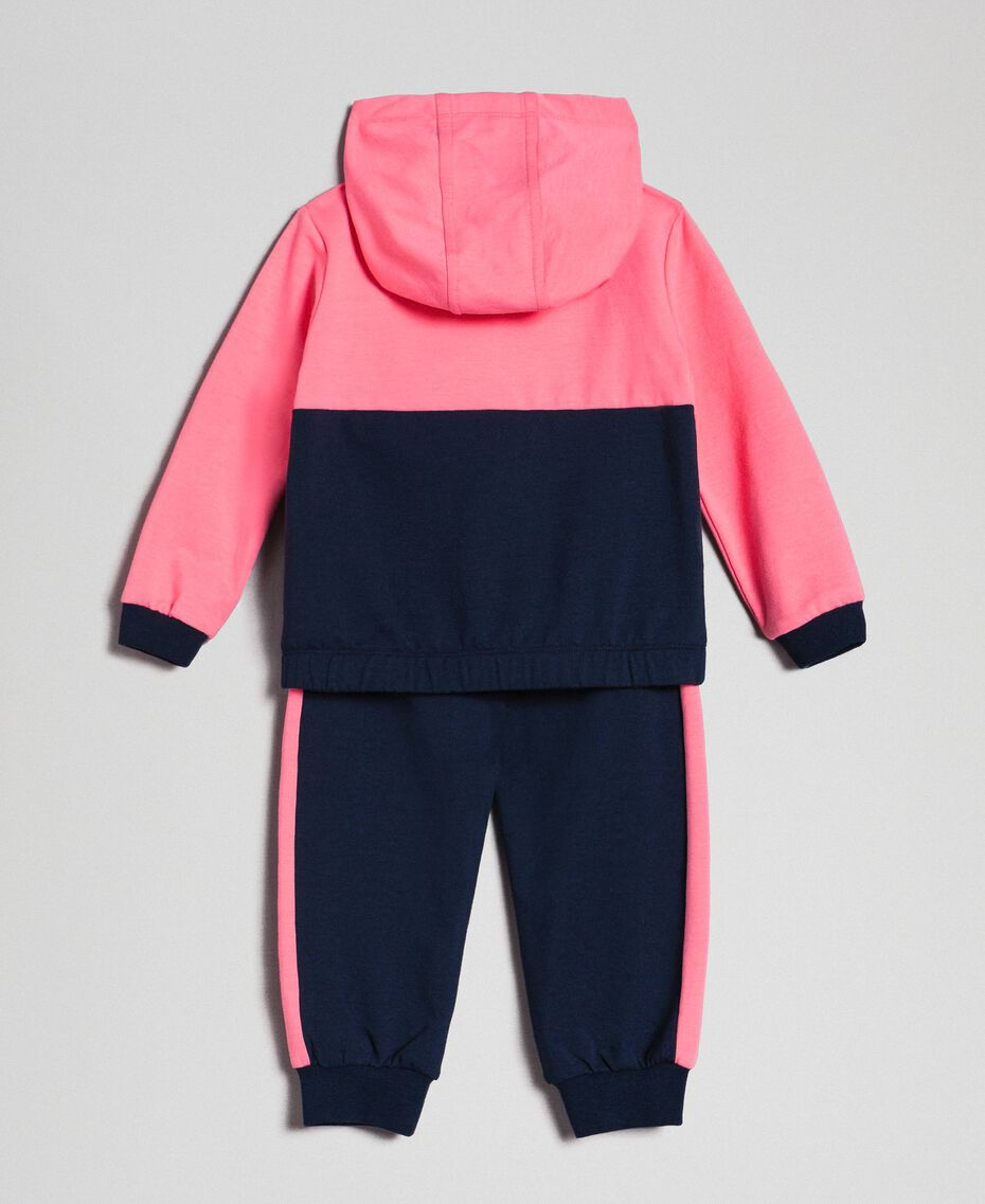 "Heart patch sweatshirt and jogging trousers Night Blue / ""Candy"" Pink Child 192GB2660-0S"