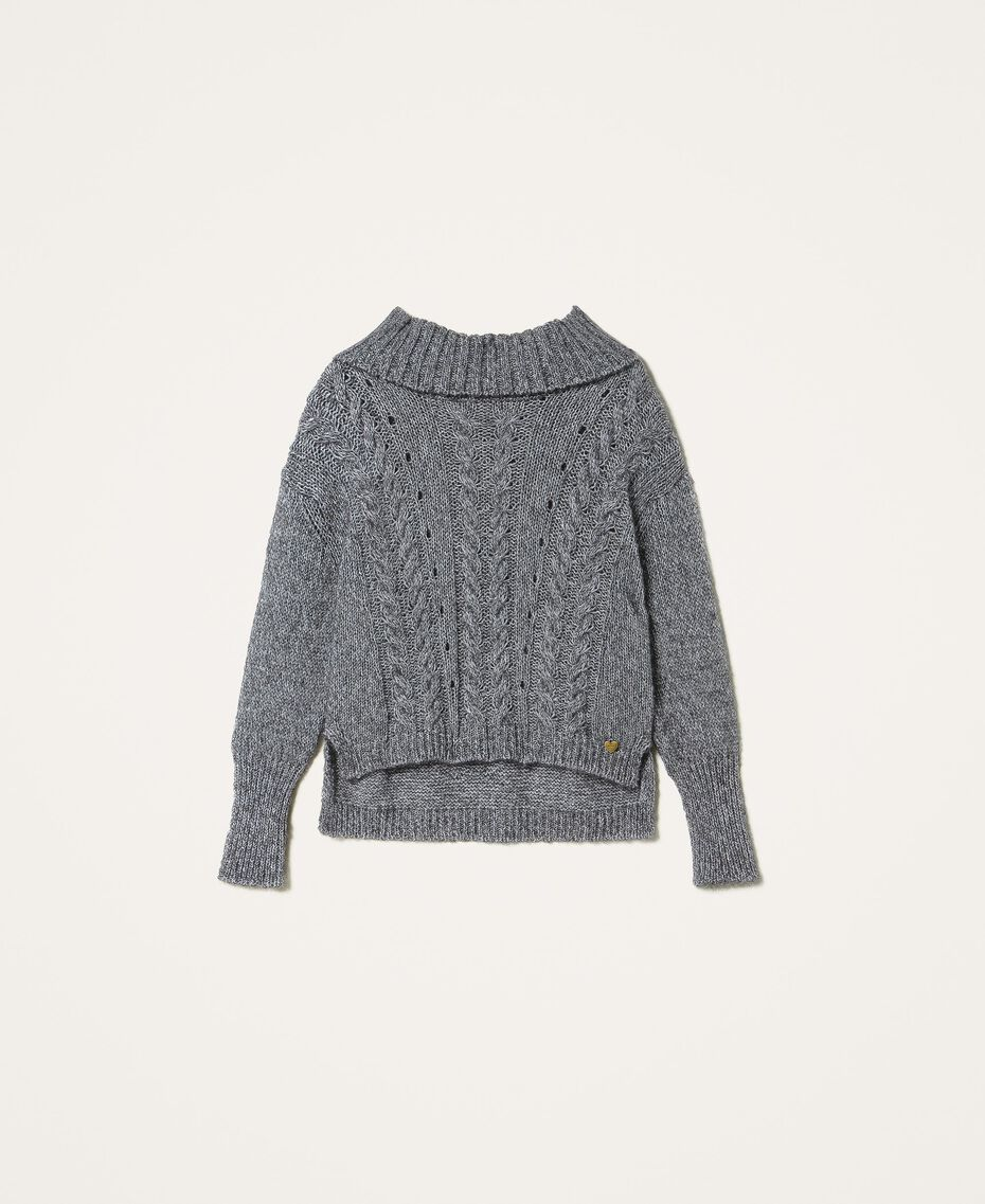 Pull tricoté dans un jeu de points fantaisie et de torsades Gris «Lurex» Femme 202TT3112-0S