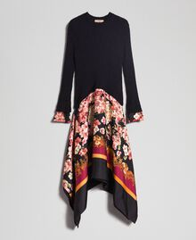 Dress in mohair and printed twill Black / Scarf Print Woman 192TP3060-0S