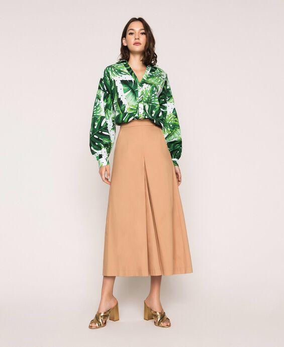 Poplin cropped trousers