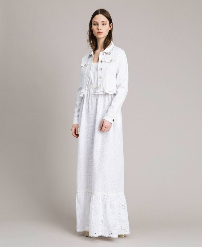 Broderie anglaise long dress with flounce White Woman 191MT2033-0T