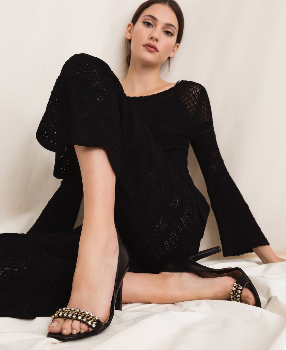 Sandales avec talon stiletto et pierres Noir Femme 201TCP090-0S