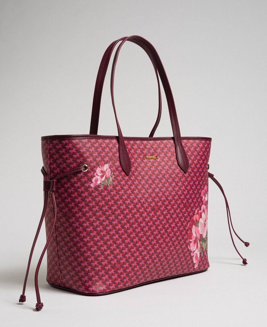 Printed shopper with clutch Beet Red Butterfly Floral Print Woman 192TA7017-01