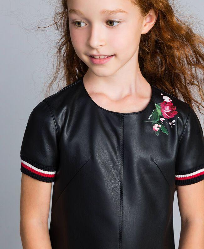 """Mini abito in similpelle con ricami Bicolor Nero / Rosso """"Papavero"""" Bambina GA82B2-04"""