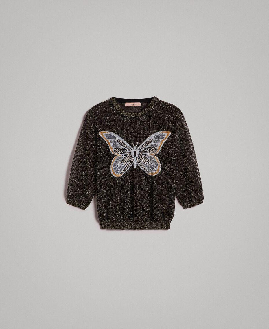 Lurex-Pullover mit Schmetterlings-Detail Lurex Schwarz Frau 191TT3101-0S