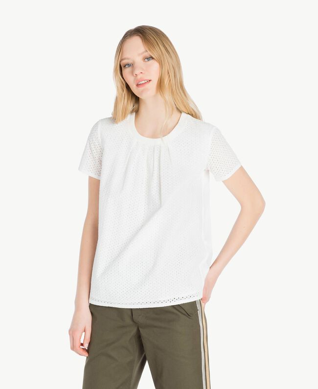T-shirt broderie anglaise Blanc Femme YS82D1-01