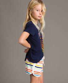 T-shirt en viscose avec imprimé et strass Indigo Enfant 191GJ2450-02