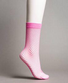 Lurex fishnet socks Fluorescent Pink Woman 191TA4348-01