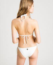 "Glitter triangle bikini top with bow ""Milkway"" Beige Woman 191LBM322-03"