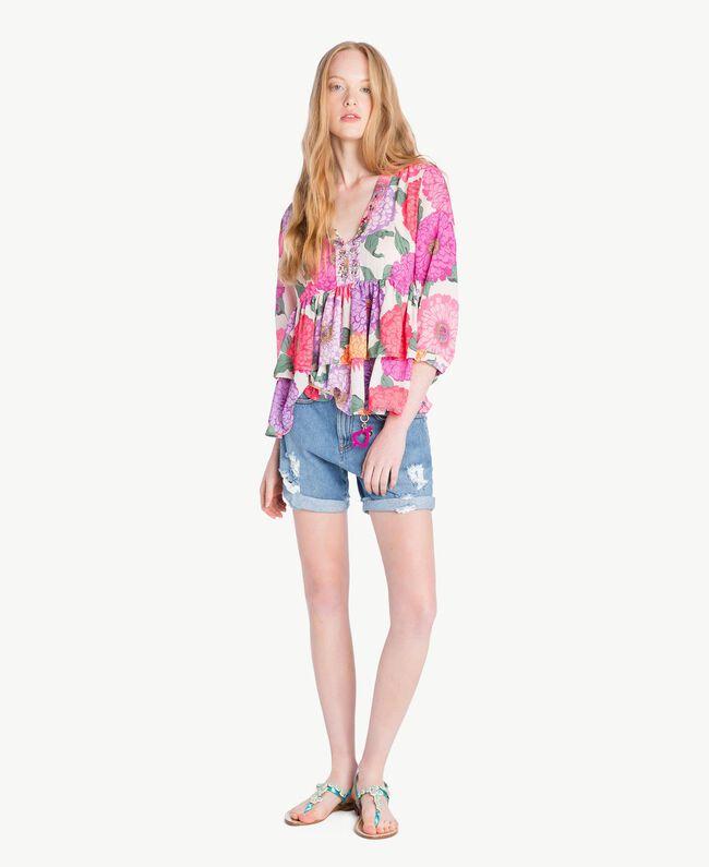 Mujer Blusa Estampado Milano Con Twinset Flores Fantasía De wq6ZxISq