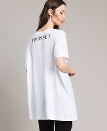Maxi T-shirt with logo and embroidery White Cream Woman 191MP206H-03