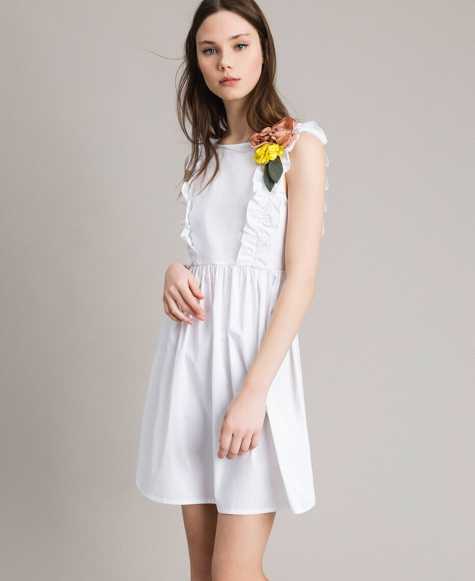 Poplin dress with ruches and brooch White Woman 191MT2050-02