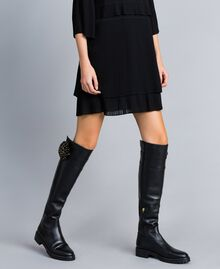 Overkneestiefel aus Leder mit Blume Schwarz Frau CA8PNC-0S