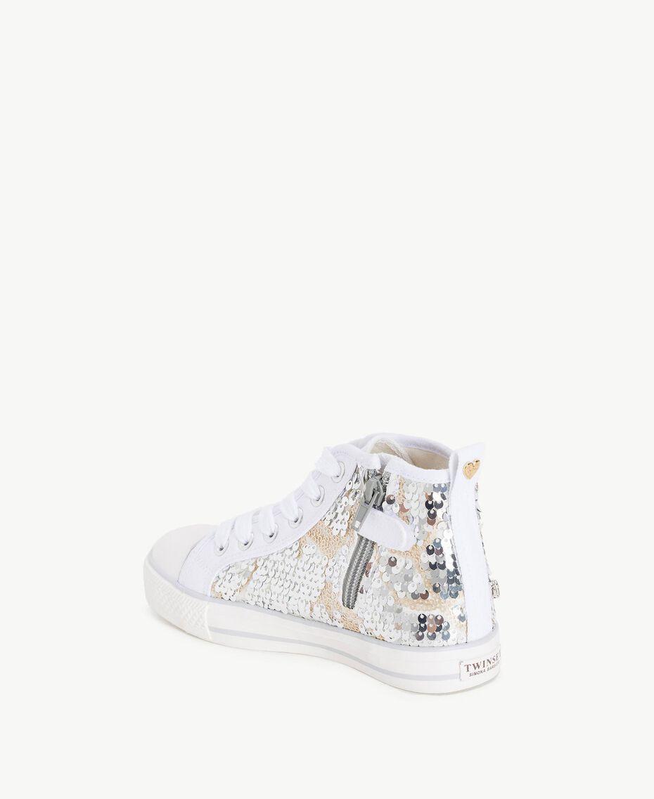 Sneaker mit Pailletten Silber / Nickel Kind HS88GA-03